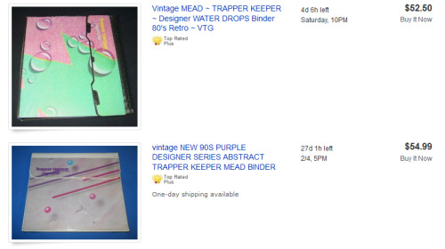 blurintofocus:  Hold up did y'all know Trapper Keepers go for $50 or more on ebay now?  (ht: sbh)  just guess which one I had