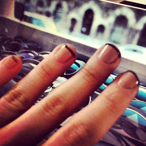 Just some ghetto fab nails #frenchmanicure #blacktips #nudepolish #chic #notchic