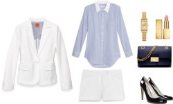 how to work: the power (shorts) suit by cassandramcd   Equipment blue blouse / Tory Burch cropped jacket / Tory Burch short shorts / KORS Michael Kors black glitter heels/ Michael Kors leather satchel / Coach bangle watch / AERIN lipstick  me