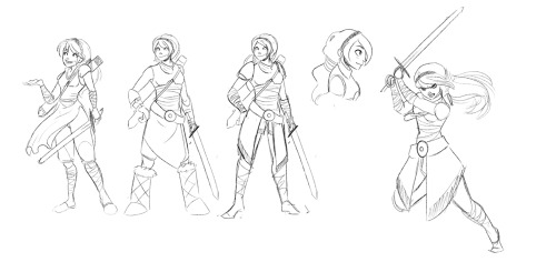 Some rough warrior princess designs