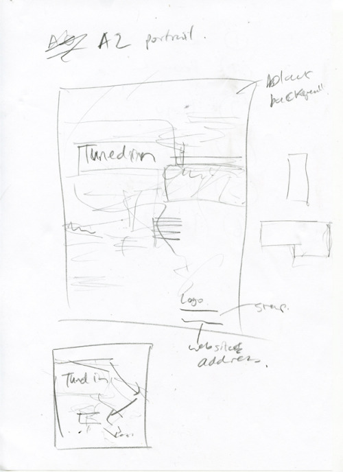 Rough layout sketch for tune in poster organising content.