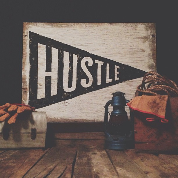 neuarmysurplus:  Hand-painted Hustle Flag on wood. #neuarmysurplusco #hustle #vscocam