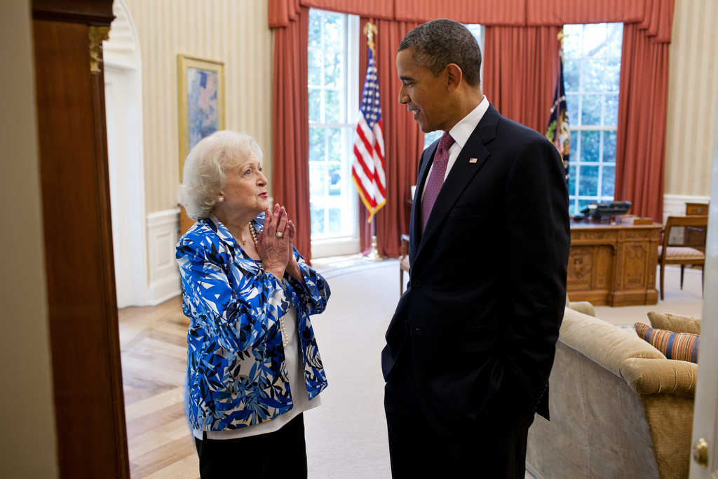 President Barack Obama talks with Betty White in the Oval Office, June 11, 2012. (Official White House Photo by Pete Souza) Most iconic Pete Souza photos of Obama family's first 4 years in the White House