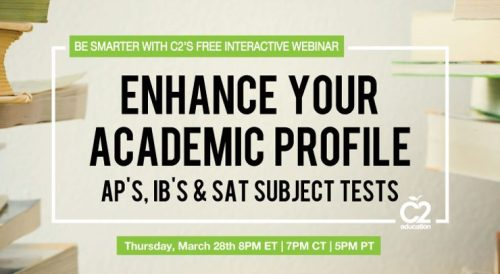 Wondering about AP, IB, and SAT Subject Tests? Register for our FREE webinar to find out which tests you need to take, which tests you don't need to take, and how to choose the best program for you. http://www.c2educate.com/webinar-catalog/