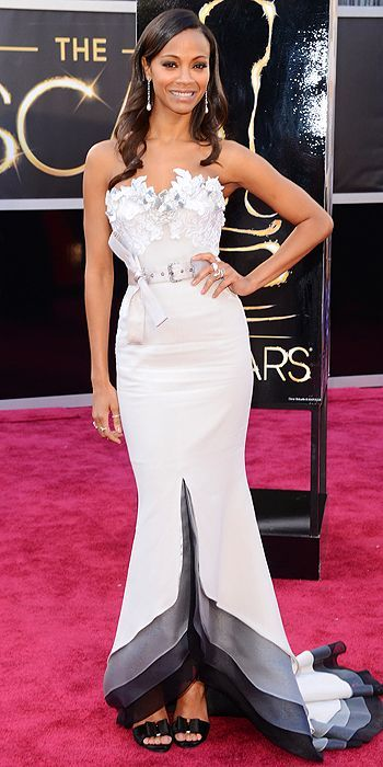 Zoe Saldana at the 85th Annual Academy Awards I love the idea of this dress, but I just wish she took off that belt!