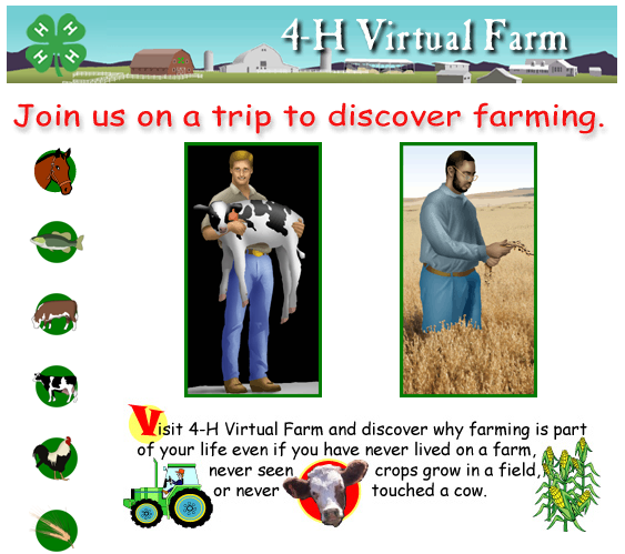 4-H Virtual Farms #sschat #scichat Discover 6 different types of farms through photos, video, interviews, and audio. You may also like… My American Farm Lots of neat games. Flying Skunk Farm Superb! K-Bears's Farm Nice for younger kids. Make Ice Cream in the classroom…yum! Dairy Moos Moosworthy Information and videos from a real dairy farm.  Agricultural Research Service  Sci4Kids (nice resource) Nutrients for Life Games: Humanity Against Hunger ((6-12) and Plant Nutrient Team (K-5)