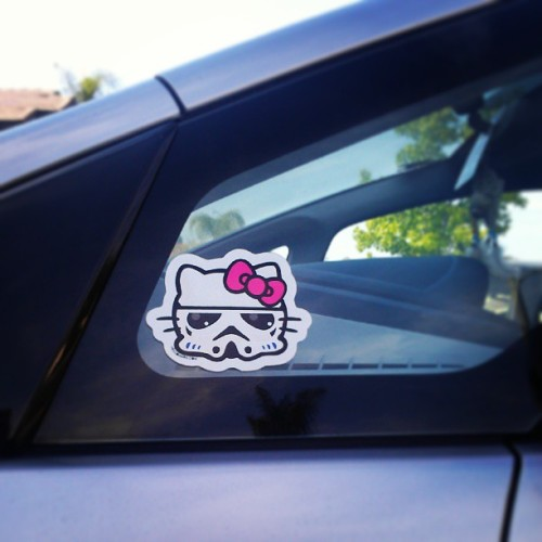 My favorite car sticker. May the fourth be with you! #hellokitty #starwars #stormtrooper