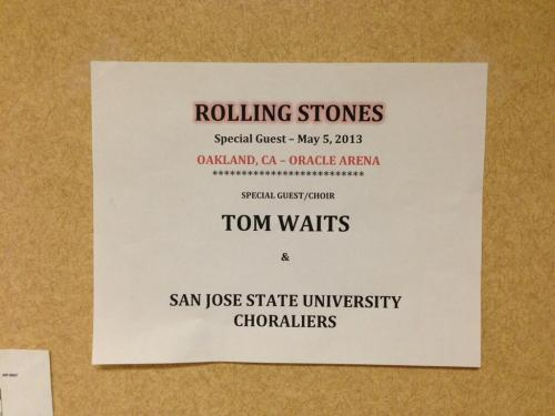 Tonight at the Oakland, CA Oracle Arena the Rolling Stones will be joined by Tom Waits! Which song do you think they'll be playing together?