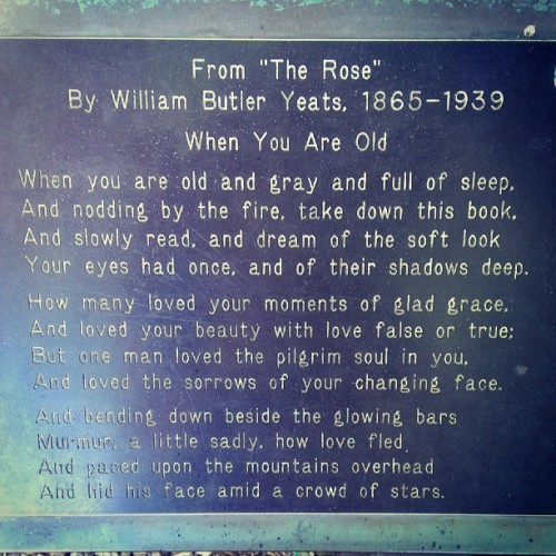 W.B. Yeats #poem #poetry  (at Grounds for Sculpture)