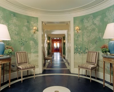 {GRACIE CHINOISERIE WALLPAPER IN THE FOYER OF TORY Burch'S MANHATTAN APARTMENT AT THE PIERRE HOTEL}  {Pauline de Rothschild Paris apartment, photo for Vogue 1969}