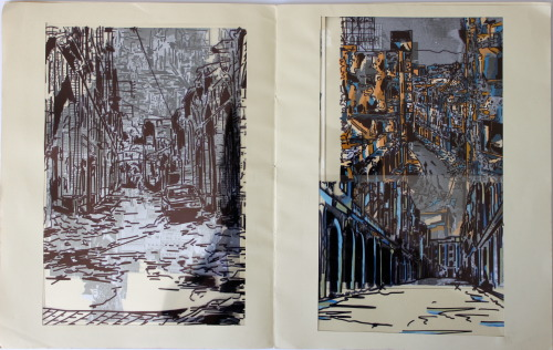 Book of Cities part 1, using pen, paint, acetate and collage.