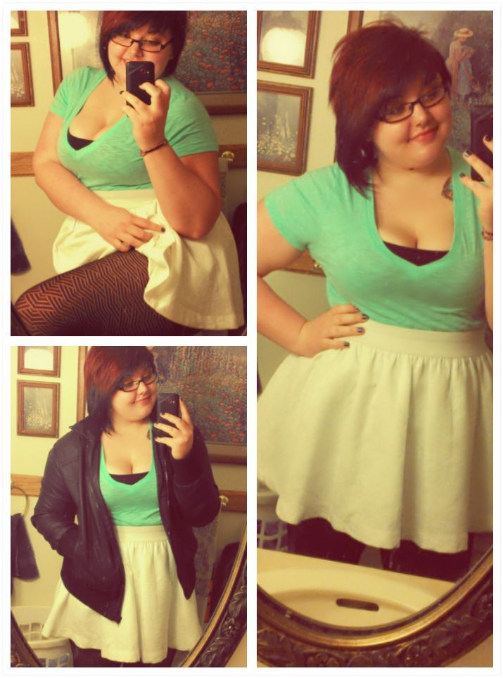 What I wore todayyy. I was excited because it was warm enough for a skirt, and I've been dying to wear this skirt forever. Also these awesome stocking I got that actually fit up my thunder thighs and hips. Everything was great today.
