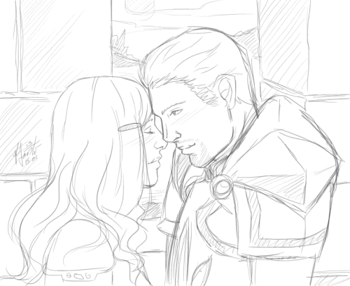 "chenria:  Today on the bus I thought I could draw Elyria and Cullen again… haven't drawn them in … forever… and then I decided to change Elyria's hairstyle and her story and… now I have Elyria 2.0 ^^""  This is random … to cheer me since my mood is… well, better not talk about my mood.  But Elyria and Cullen are still my babies and I love them (and missed them…)   So pretty!"