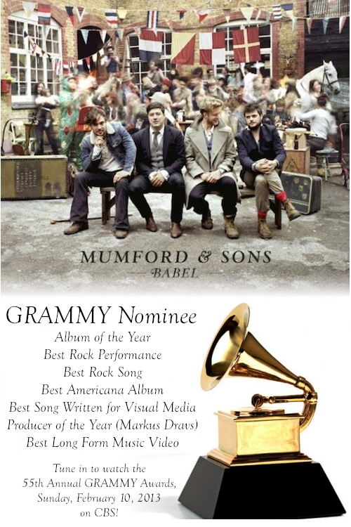 It's GRAMMY day! While many of you will tune in to support Mumford & Sons on the 55th Annual GRAMMY Awards on CBS, many more of you are in other countries and are unable to watch the show live. But now everyone can watch the awards ceremony! Here are two different CBS worldwide live-streams for you to choose from: CBS on Stream2Watch CBS on UFreeTV Coverage begins at 8:00 PM EST. Click here to convert to your own time zone. There's more… Be sure to click over to GRAMMY.com/live for an exclusive multi-screen live-stream with backstage and pre-ceremony coverage: 3-8 PM EST: GRAMMY Awards Red Carpet 4-6:30 PM EST: Pre-Telecast Ceremony 8-11:30 PM EST: 55th GRAMMY Awards Multi-Screen Experience 11:30 PM-1 AM EST: 2013 Grammy Celebration Finally, be sure to follow Mumford & Sons Blog all day long for photos, interviews, and much more. Good luck Mumford & Sons!