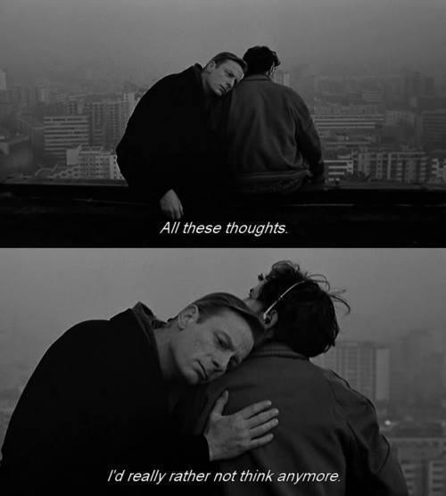 "toseethesummersky:   Film Still from ""Wings of Desire,"" by Wim Wenders, 1987."