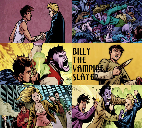 manpires:  Billy the Vampire Slayer: Parts 1-2    Magic is gone and life continues, but not without its hiccups. Humans and demons alike are experiencing some serious growing pains and sharing a new kind of threat: Zompires! This new evil — part vampire, part zombie — is descending upon a small California town where a new kind of Slayer is about to be mysteriously born into a world without magic…      I know he isn't a slayer for real, I just really like him okay? :/