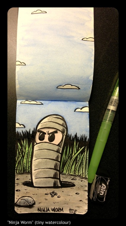 """Ninja Worm"" (tiny watercolour)"