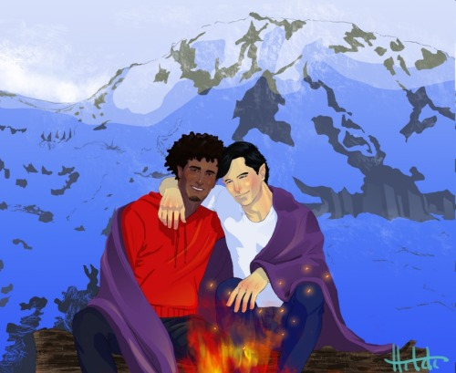Northstar and Kyle by Hildi Second commission from this artist (and the first SFW one!). Another advantage to being a speedster: your husband gets to watch the sunrise from nearly any damn place he pleases.