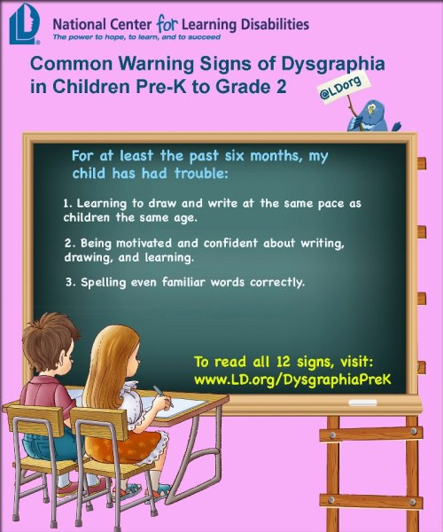 Common warning signs of dysgraphia in children pre-K to grade 2To see the full list, visit http://www.ncld.org/types-learning-disabilities/dysgraphia/common-warning-signs-of-dysgraphia-in-children-pre-k-to-grade-2