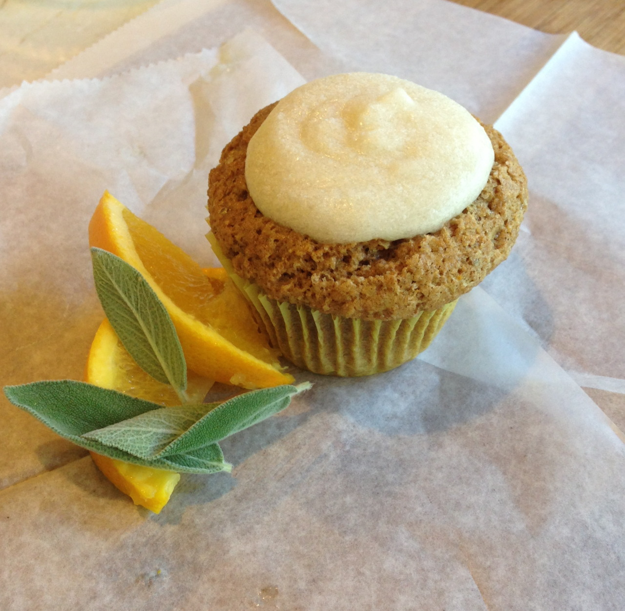 findvegan:  Orange Spice Cupcake with Sage-Infused Maple Icing!