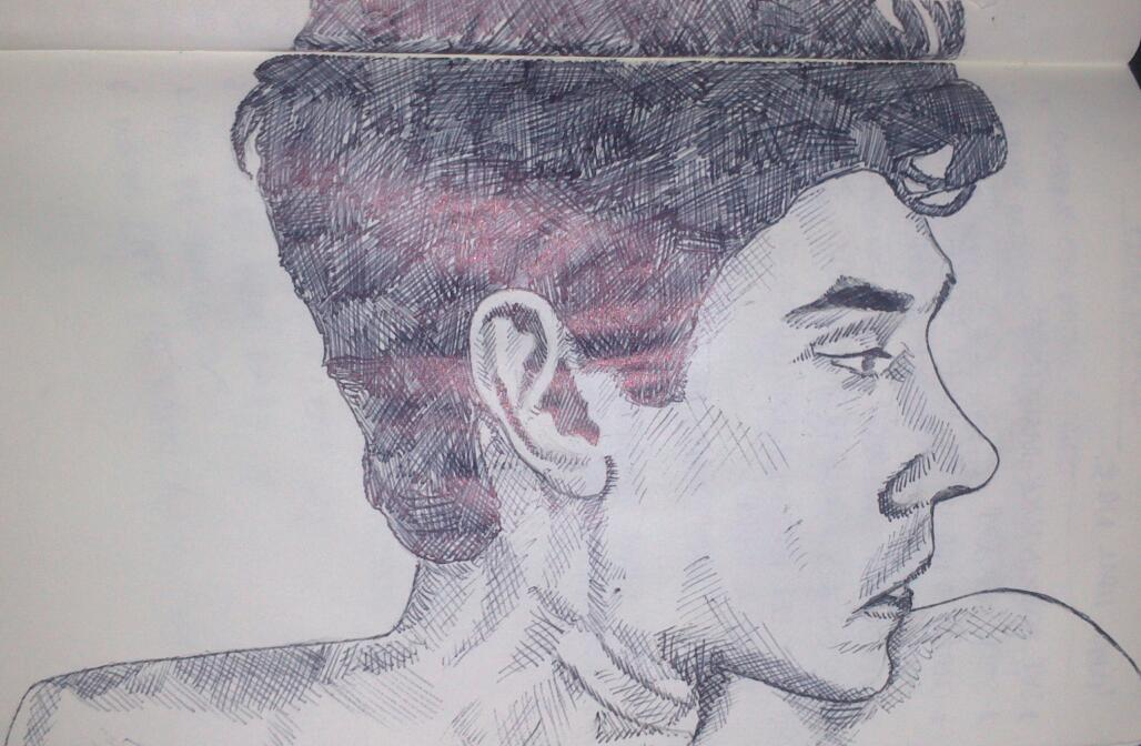 Moleskine biro sketch of Freddie Lyon from BBC2's The Hour