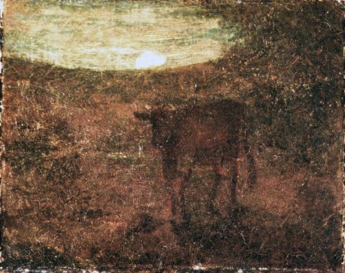 centuriespast:   Moonrise Artist: Albert Pinkham Ryder, American, 1847-1917 Medium: Oil on canvas Dates: late 1870s Brooklyn Museum  In the winter months, as the sun was in it's final descent of the golden hour, my father and grandfather would load the dilapidated farm trucks with the hay and pellets that were to function as stand-ins for the dormant rye grass that was then absent from the pasture. Inhaling the crisp air, my brother and I would clamber into the truck beds, and exhale icy condensation.  Minutes later we would be in the back pasture. As the echo of my father's cattle call lingered in the bare woods, we began cutting the twine from the hay and opening the pellet bags. The cattle came. Driving ahead of the herd, we emptied the truck beds until every cow had his full, and, wrapping our jackets around us for warmth, we headed back to the house. It is one of my earliest memories.