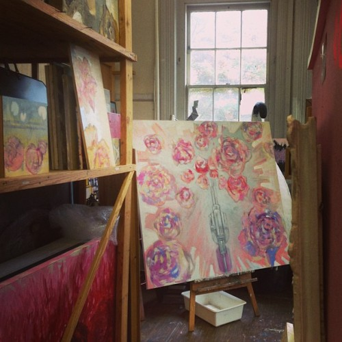 Jackson Art Center, Georgetown Emma O'Rourke's studio during yesterday's open studio day.