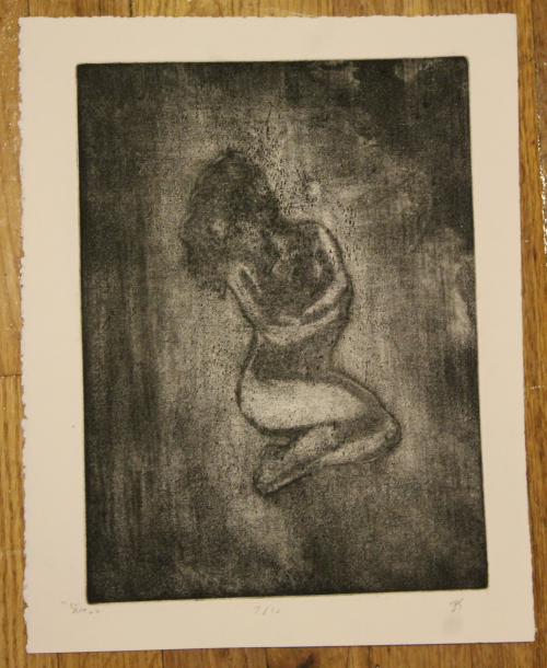 """Siren"" Zinc plate/Aquatint & atmospheric aquatint & spraypaint & burnishing/Stonehenge Paper"