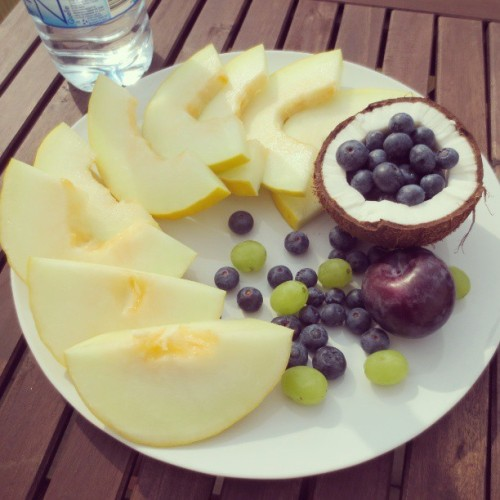 cocokaet:  Most delicious breaki ever! #breakfast #coconut #melon #blueberries #grapes #healthyfood #healthy #fitspo #eatclean #cleaneating #instafood #foodporn