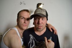 "daveycalabrese:  Davey Calabrese and the Director of Photography Andy Hartmark on the set of the ""Coffin of Ruins"" music video!Watch the video here!:  http://www.youtube.com/watch?v=GzJZ5PYm_50"