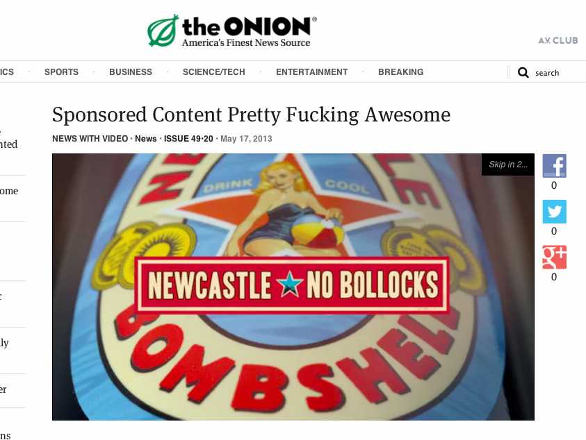 """Commercial In 'Sponsored Content Pretty Fucking Awesome' Story Pretty Fucking Awesome"""