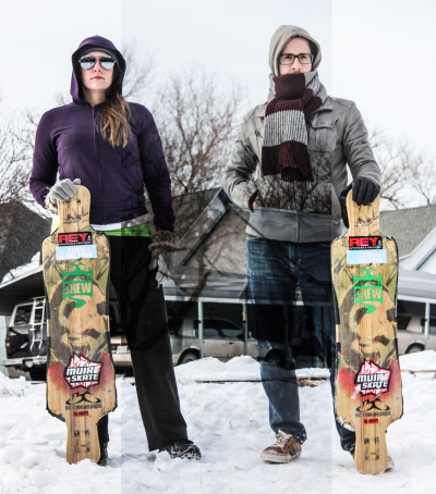 My wife Kristen & I during Christmas in Kansas.  www.bclongboards.com, www.reytrucks.com, www.coreextremesports.com