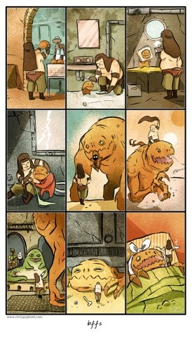 "A Boy & His Rancor - BFFs http://bit.ly/ZIysye Source I heart Rancor.The Red Hoodie on Etsy (AKA Chris Gugliotti - illustrator extraordinairre) (he's done work for DC no less!) has this hilarious kid's flavoured story of two best friends: one, a stinky, unattractive freak, and the other, a Rancor. This great watercolour print comes signed by the artist. He's also currently running a deal to get a bonus print if you also order the surreal Boba Fett / Sarlacc love story ""For A Thousand Years"" poster. Hurry, this print is only $40, but there are only 9 left!Related Fly PostsWhat's Scarrier Than A Rancor?Rawrr! Rancor Time. LEGO Star Wars Rancor Pit 75005 HD Set Review More Inspired Posters from Poster Inspired"