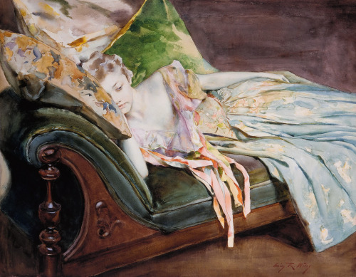 mudwerks:  (via Irving Ramsey Wiles - The Green Cushion [c.1895] | Gandalf's Gallery)