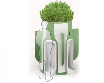 Want More Urban Green Space? Start Peeing In Public | Earth Techling A public toilet that will recycle urine into fertilizer for flora growing in the built-in planter.  By setting up the restroom in pod format with 4 urinals on every pod, the users can enjoy more space and privacy. This system as well paves way for both peeing and watering the plants.