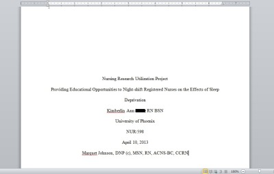 My final paper for my Nursing Research Utilization Project, a 25-page paper more than 5 thousand words that got an A+!!! ^___^ Eeeeep~! *Happy dance* So happy!