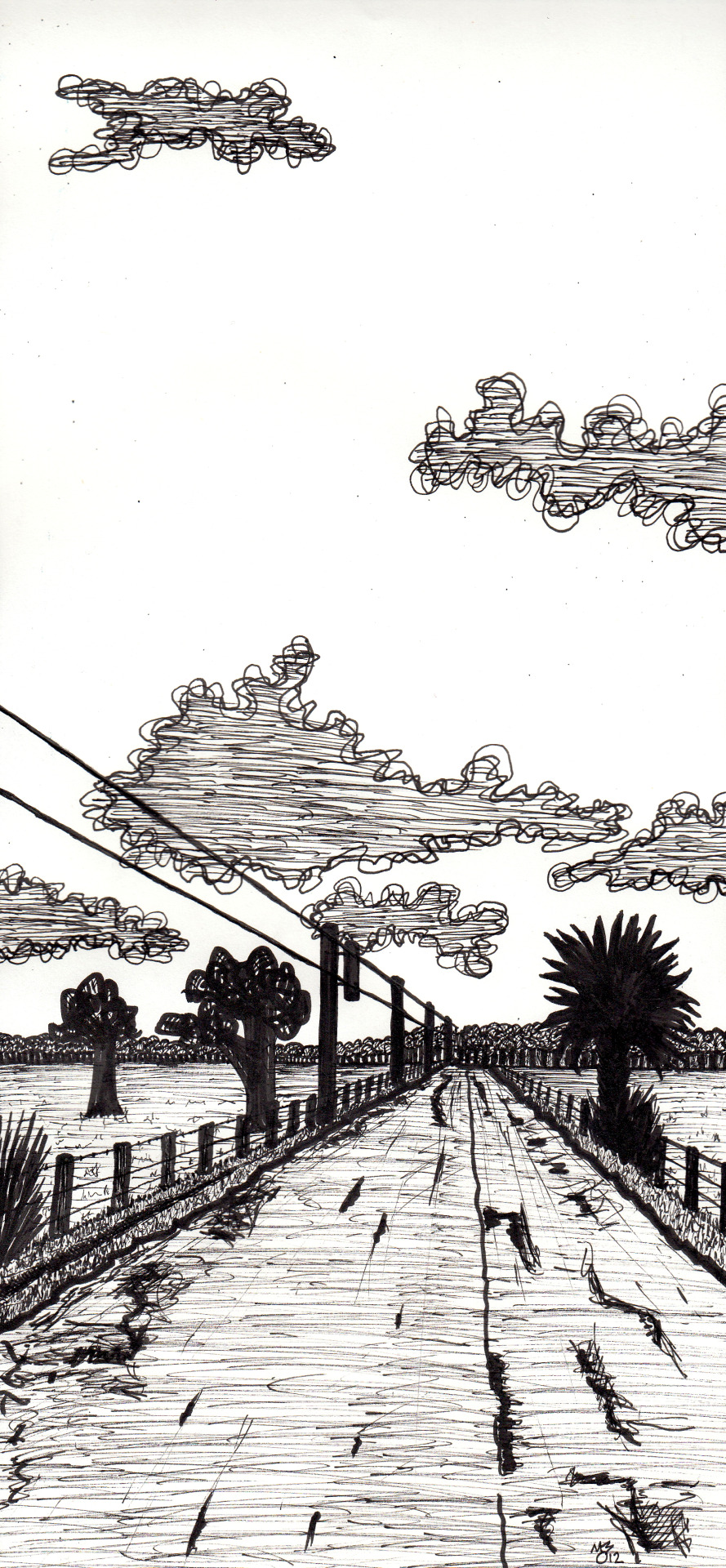 "Basinger Big Sky - Ink - 5""x12"" Actually the drawing is 5x14 but my scanner won't let me scan the top. There is maybe a half inch more of road and a the first cloud at the top is 2.5 inches from the top of the page.  I also drew some crazy border around the whole thing but it was just distracting."
