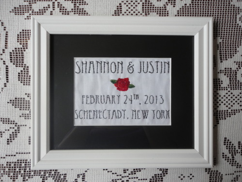 For Shannon and Justin, 2/13.