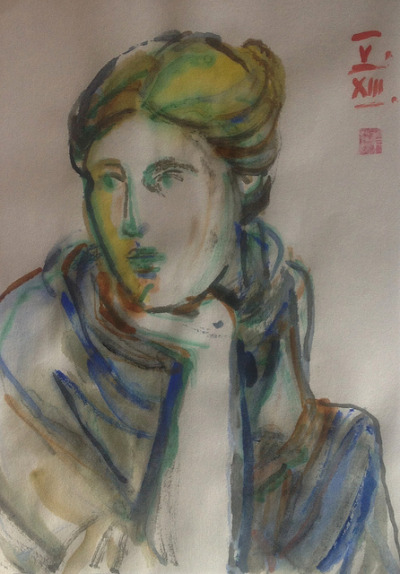 Seated Muse, Probably Urania, watercolor drawing on Japanese paper 18x25cm, May/2013 #berndblacha on Flickr.