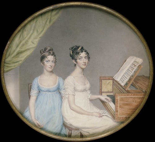 spellbound-one:     Musical Ladies  Miss Harriet and Miss Elizabeth Binney, United Kingdom (painted) Date: 1806 (painted) Artist/Maker: John Smart, born 1742 - died 1811 (artist) Materials and Techniques: Watercolour on card