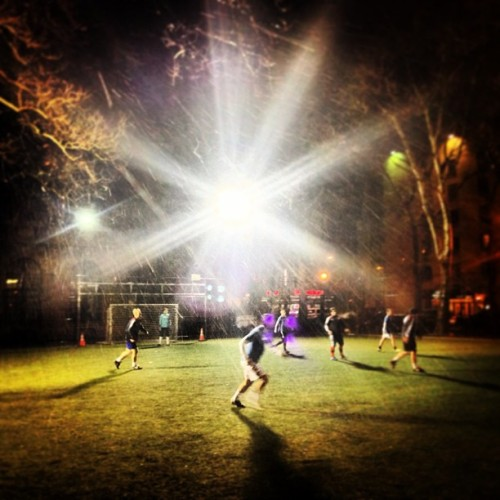 Footy in the snow with Matt Glueckert and the Bowery Football Club #soccer #snow #vintagemoment #lovefutbol