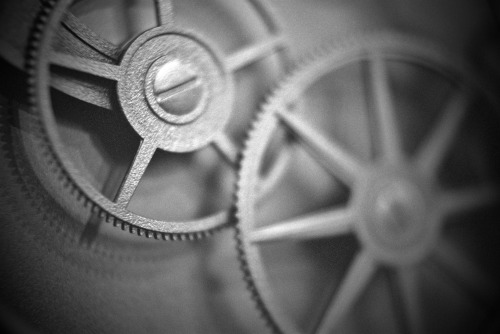 Clock gears. Shot with my Pentax K1000, using Fuji Pro 400H, and converted to B&W in Aperture.
