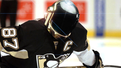 daily-sports:  Crosby's new headgear.  Would not be surprised if something like this actually happened. I'd wear it.