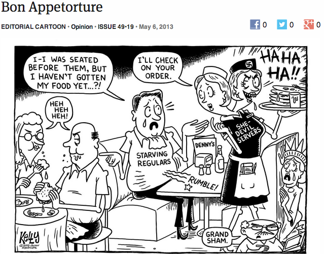 theonion:  Editorial Cartoon: Bon Appetorture  No I will not stop reblogging Kelly