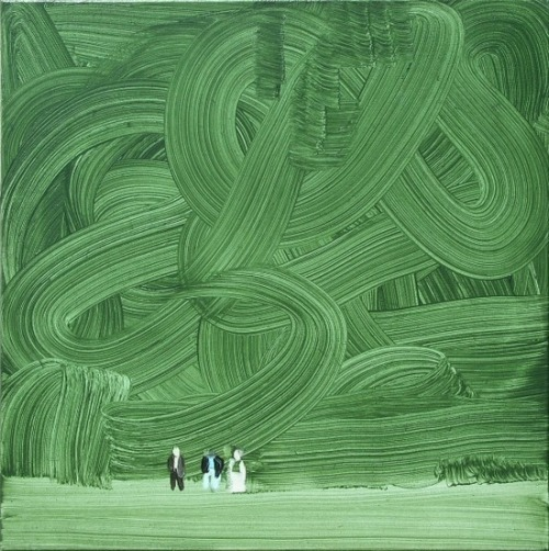 darksilenceinsuburbia:  Wilhelm Sasnal. Shoah (forest), 2003. Oil on canvas.  and here