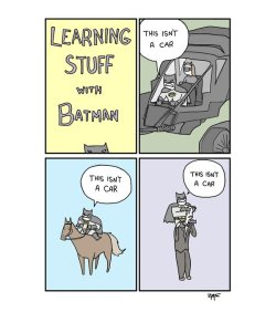 "dorkly:  Learning Stuff With Batman Hey Batman, what about these graves marked ""Thomas and Martha Wayne""?"