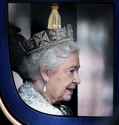 Queen Elizabeth II returns to Buckingham Palace after the State Opening of Parliament on May 8, 2013 in London, England.