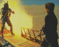 collectemall:  Boba Fett goes down from an explosion caused by unknown (bad editing) sources.