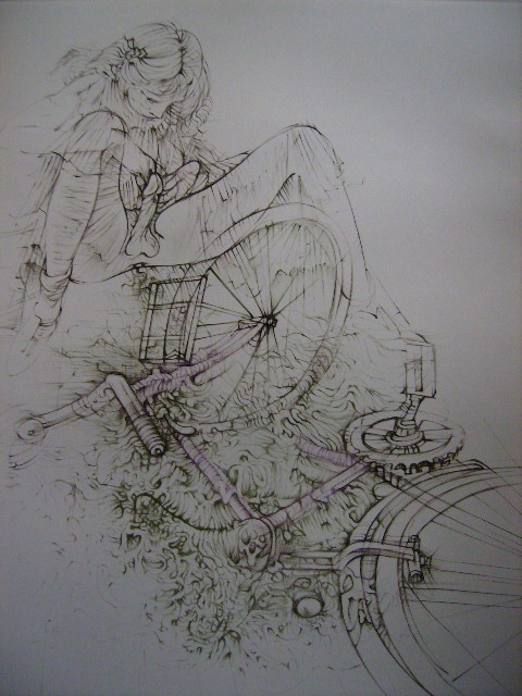 Jeune fille et la bicyclette by Hans Bellmer, 1946 Also