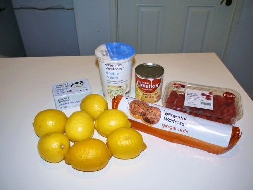 Lemon cheesecake prep.